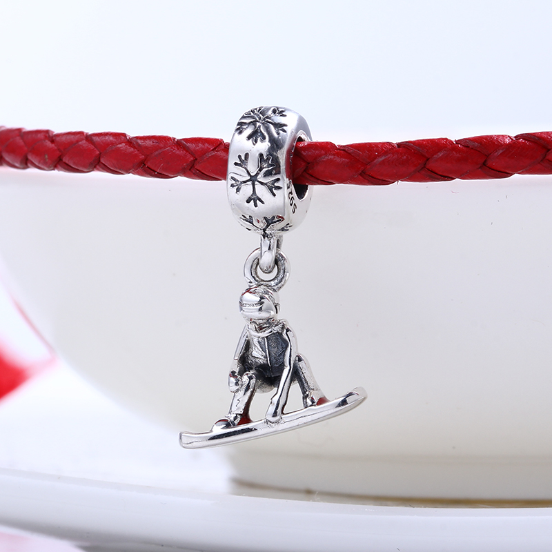 High Quality Ski Boy Dangle charms silver S925 Logo Beads Fit Pandora Bracelet 925 original Beads for jewelry Making Gift