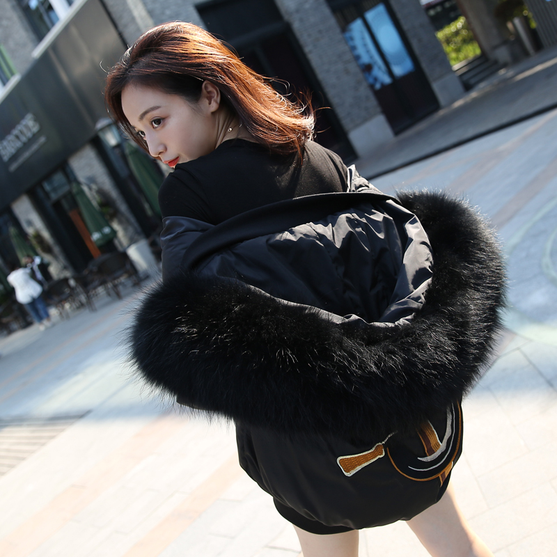2017 New Winter Jacket Women Fashion Natural Raccoon Fur Collar Thicken Warm Loose Parkas For Female Cotton-Padded PlusSize Coat 2017 winter new clothes to overcome the coat of women in the long reed rabbit hair fur fur coat fox raccoon fur collar