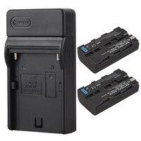 2Pcs X 2600mah Digital Camera Batteries Wall Charger For Sony NP F550 NP F570 NP F550