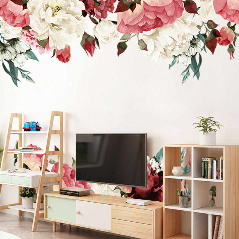 1PCS 3D Chinese Style Peony Stickers Flower Baseboard Wall Sticker For Living Room Bedroom Furniture Wall Decal 45*60CM*2