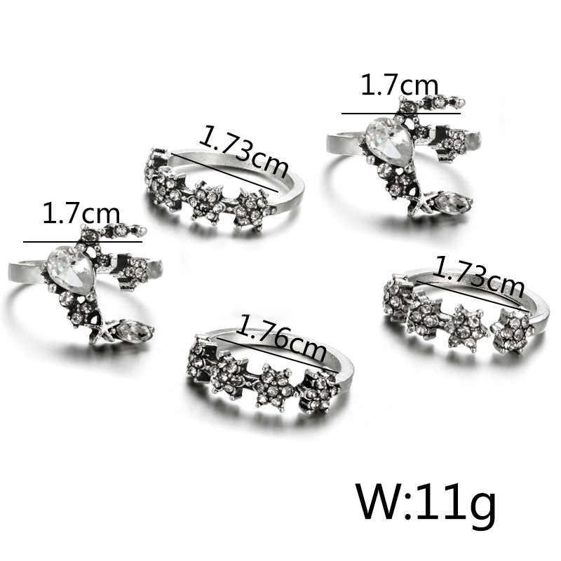 34 スタイル星月夜ヴィンテージ女性のための指輪自由奔放に生きる幾何花クリスタルリングセットボヘミアン指ジュエリー