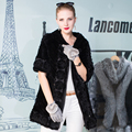 Genuine Mink Fur Coat Women Black Half-sleeve Real Mink Fur Knitted Hooded Jacket Coat Female Winter Warm Flower Fur Outwear