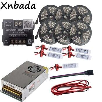DC12V 5050 RGB Led Strip Dẫn Ánh Sáng Linh Hoạt Băng 30 M + Bluetooth Điều Khiển Led + 12 V 25A Led Power Adapter Kit