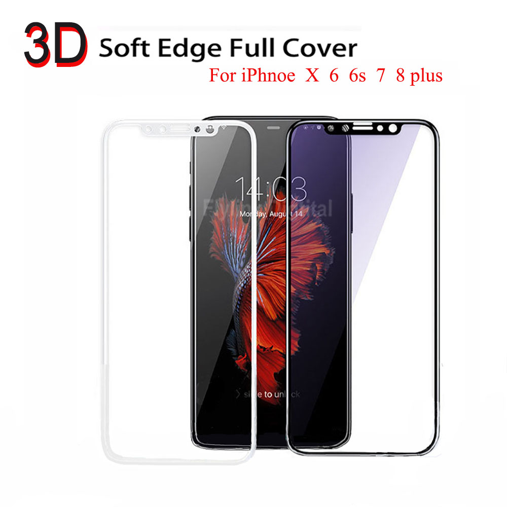 3D Curved Edge Full Cover Tempered Glass For iPhone X 7 6S 8 Screen Protector On The For iPhone 6 s 7 Plus Protective Glass Film image