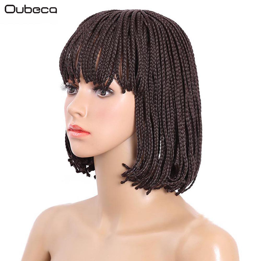OUBECA 10inch Womens Straight Box Braids Wig Brown Black Braided Short Bob High Temperat ...