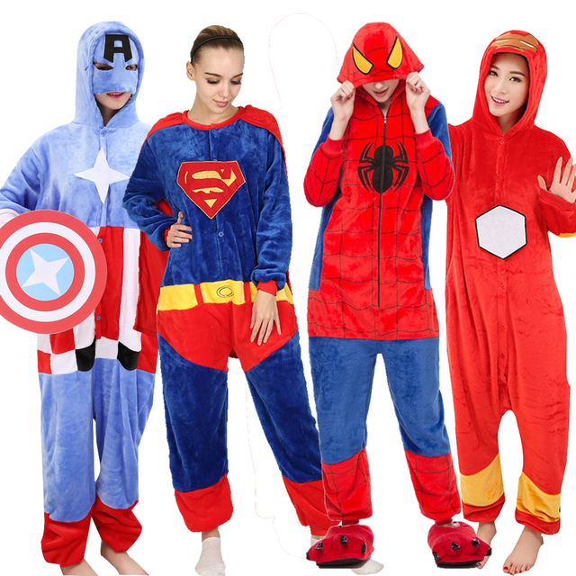 c3382c1f70646 Pijama de flanela The Avengers Batman Spiderman Superman Halloween Cosplay  Traje Adulto Homem mulher Macacão Pai Filho S M L XL