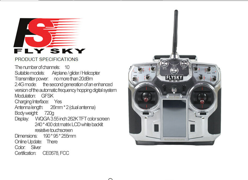 F16276/F16277 FS FlySky FS-i10 T6 2.4g numérique proportionnel 10 canaux émetteur et récepteur système 3.55