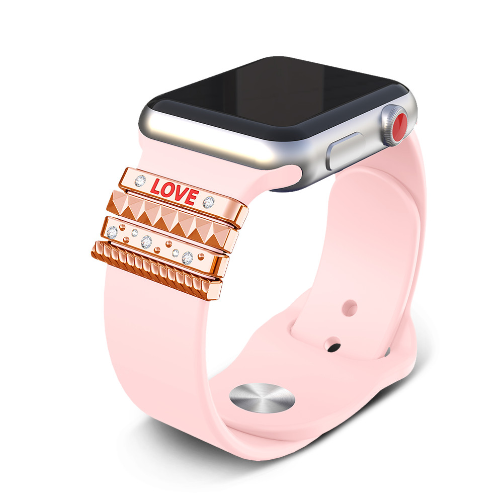 """Decorative Ring For Apple Watch Band 38mm iwatch 38mm band Stainless Steel women ornament """"LOVE"""" apple watch Accessories"""