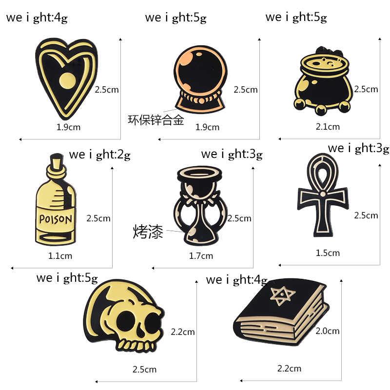 Эмалированные заколки для колдунов, кристаллический шар, жетоны-привидения, Волшебники-Колдуны, черные/Золотые темно-нагрудные заколки, Wicca и Pagan, волшебное ремесло