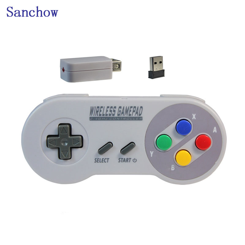 Sanchow wireless USB 2-in-1 NES/SNES 2.4G Gaming Controller for Nintendo Classic Game pad Console remote Accessories wireless controller for nintendo nes classic mini black