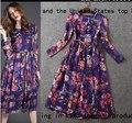 Las mujeres se visten de 2015 Primavera Nueva Moda Europea y Americana Delgado Búho imprimir Envío Libre del vestido