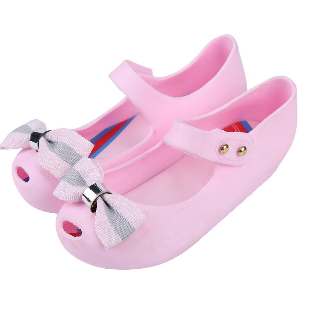 Mini Melissa Fashion Summer Kids Casual Hollow Striped Bows Rivet Cute Princess Clogs Mules Beach Shoes Girls Jelly Shoes Sandal