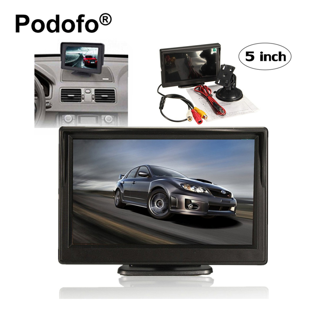 Original Podofo 5 Inch Car Monitor with 2 Video Inputs for Rear View Backup Reverse Camera Rearview Monitor Suppot DVD VCD