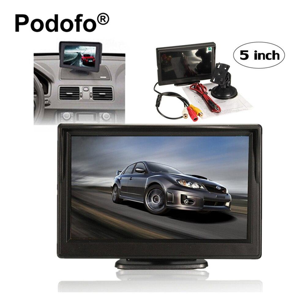 Original podofo 5 pulgadas coche Monitores con 2 entradas de vídeo para cámara de visión trasera de reserva reversa retrovisor Monitores suppot DVD VCD