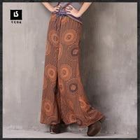 Women Boho Polyester Pant 2018 Keer Summer Vintage Loose Flower Cloth Elegant Chiffon Wide Leg Pants