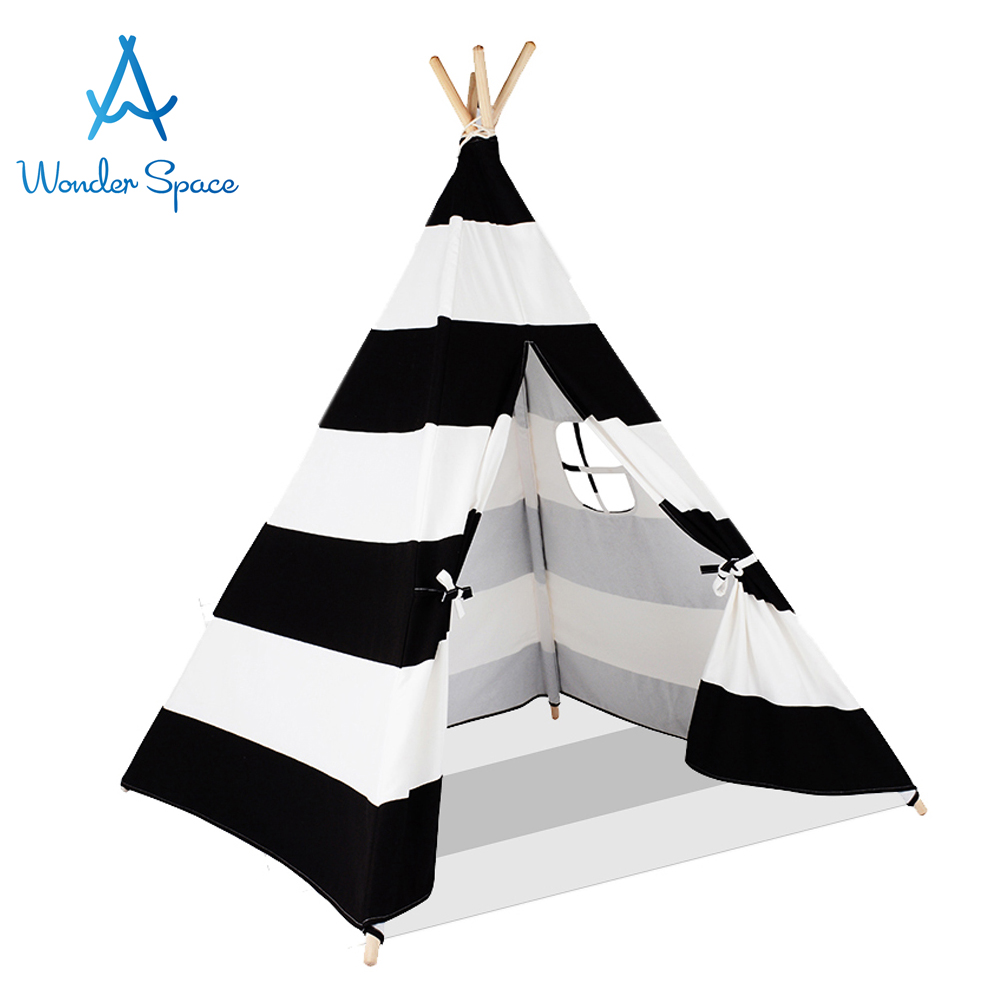 Kids Teepee Play Tent 100% Cotton Canvas Black Stripe Children Tipi Playhouse with Mat Indoor Outdoor Toy Boys Girls Baby Gift kids parachute toy with handles play parachute tent mat cooperative games birthday gift lbshipping