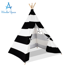 Kids Teepee Play Tent 100% Cotton Canvas Black Stripe Children Tipi Playhouse with Mat Indoor Outdoor Toy Boys Girls Baby Gift blue grid teepee tent for kids boys tipi tent wigwam playhouse