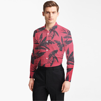 red oxford cotton with printed large black leaves man's fashion designer brand shirt tailor made bespoke MTM male blousefreeship