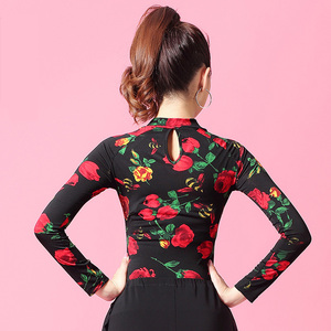 Image 5 - Flower Print Long sleeve Turtleneck cutout Latin dance clothes top for women/female,Ballroom Costume performance wear YT0207