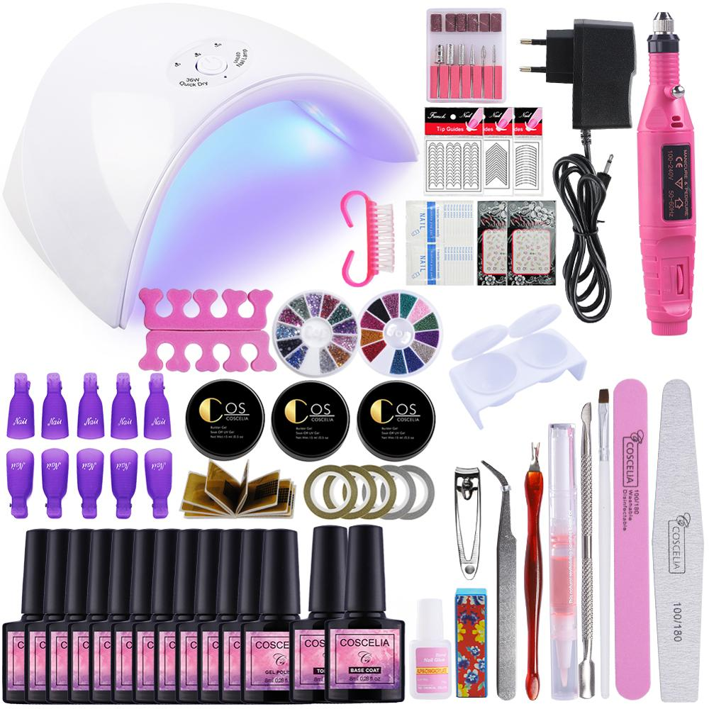 COSCELIA 36W Nail Lamp Dryer Set Nail Gel Polish With Professional Nail Drill Manicure For Nail Tools Kit 6/10/12pc Color PolishCOSCELIA 36W Nail Lamp Dryer Set Nail Gel Polish With Professional Nail Drill Manicure For Nail Tools Kit 6/10/12pc Color Polish