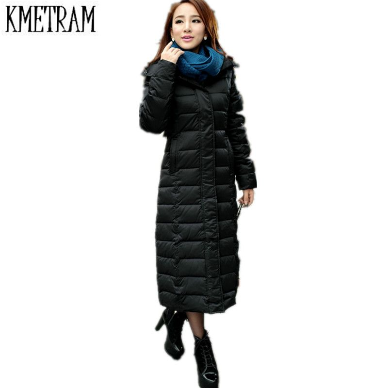 da36aa16a6f Europe America 2018 New X-Long Down Jacket Women Winter Hooded Slim Long  Over Knee Plus Size Coat Thick Warm Over Coat CD0038