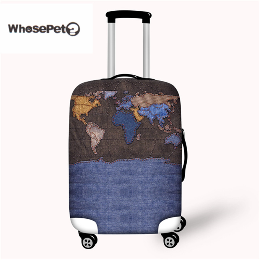 WHOSEPET Travel Luggage Suitcase Protective Cover Word Map Print Elastic Stretch Spandex Case Covers For 18-30 inch with Zipper