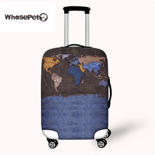 Фотография WHOSEPET Travel Luggage Suitcase Protective Cover Word Map Print Elastic Stretch Spandex Case Covers For 18-30 inch with Zipper