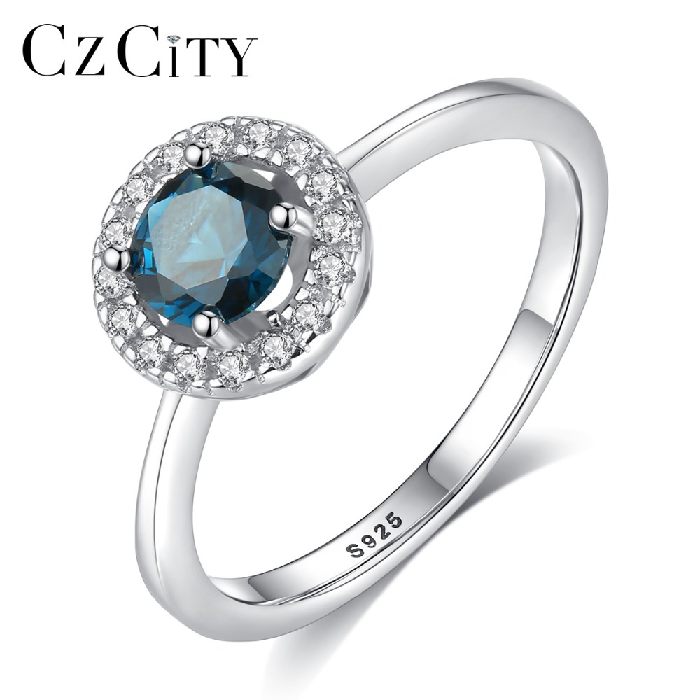 CZCITY 925 Silver Sterling Luxury 8mm Round Topaz Rings for Women 3 Colors High Quality Engagement Gemstone Ring Silver Jewelry