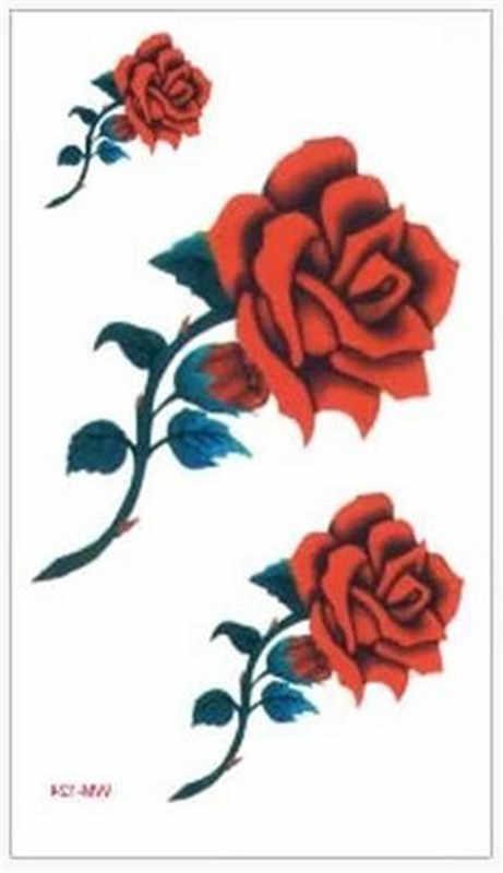 3 red color rose blossoms flower new fashion waterproof temporary tattoo sticker tatoo tatto men women flash fake henna WM124R