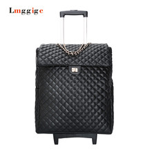 New 20 inch Luggage,Women Cabin Carry-Ons,Universal wheels Suitcase,PU leather bag,Grid pattern Carrier,Trolley case,drag box