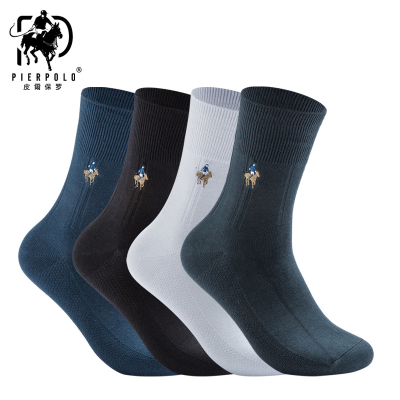 PIERPOLO Brand Men Socks Fashion Dress Socks 5 Pairs/lot Happy Mens Socks Meia Business Embroidery Cotton Socks calcetines