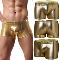 Hot Sale!2016 New Sexy Cotton Men's Low Rise Boxer Shorts  Gay Fake Leather Gold Low Waist Pants Men Fake Leather Pants