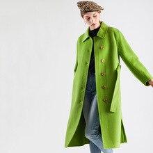 Shuchan Green Wool Blend Coat Women Autumn Winter 2019 New Items Adjustable Waist Turn-down Collar Single Breasted Outerwear 014 olive green drape collar drawstring waist coat