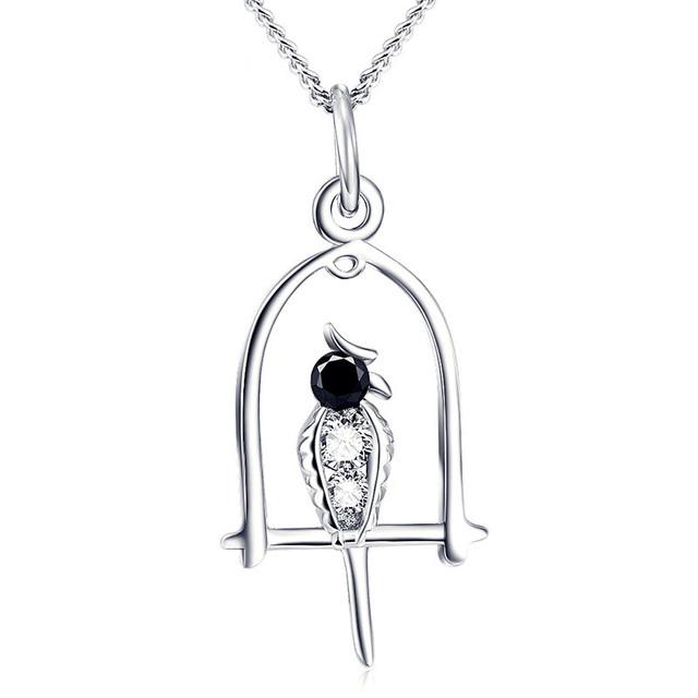 Nova chegada s925 prata esterlina jóias zircon Papagaio Pássaro Colares & Pingentes Mulheres Animais Presentes de Natal N0301 Memorial Para Animais de Estimação