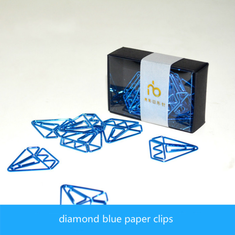 Multicolour Paperpaper Needle Storage Paper Clip Student Stationery Metal Bookmark Blue Diamond Paper Clips