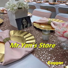 B·Y 12*180inch Sequin table runner Copper Color Embroider runners for wedding party hotel dinner Decor -64
