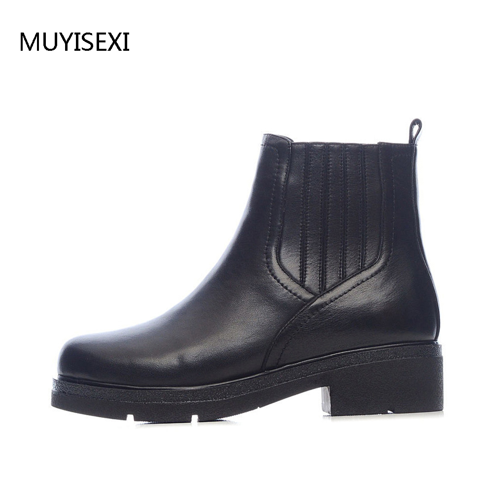 Wool Fur Chelsea Ankle Boots Zipper Cow Leather Shoes Thick Low Heels Winter Autumn Shoes Black Boots Russia size LID003MUYISEXI