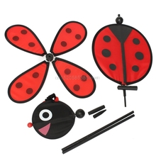 Bumble Bee Ladybug Windmill Whirligig Wind Spinner Home Yard Garden Decor Classic Toys HC6U