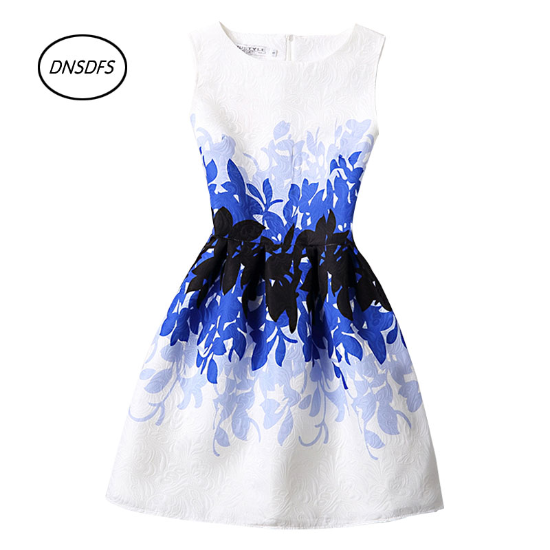 2017 New Women Spring Fashion print sleeveless party dress ...
