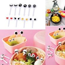 10pcs / set Baby Feeding Mini Eye Fork Reusable Plastic Sticks Children Lunch Bento Box Accessories