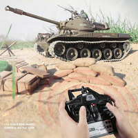1:16 scale newest 51cm big size simulation rc battle tank with 2.4G plastic or metal smoking BB bullet shoot simulation tank toy