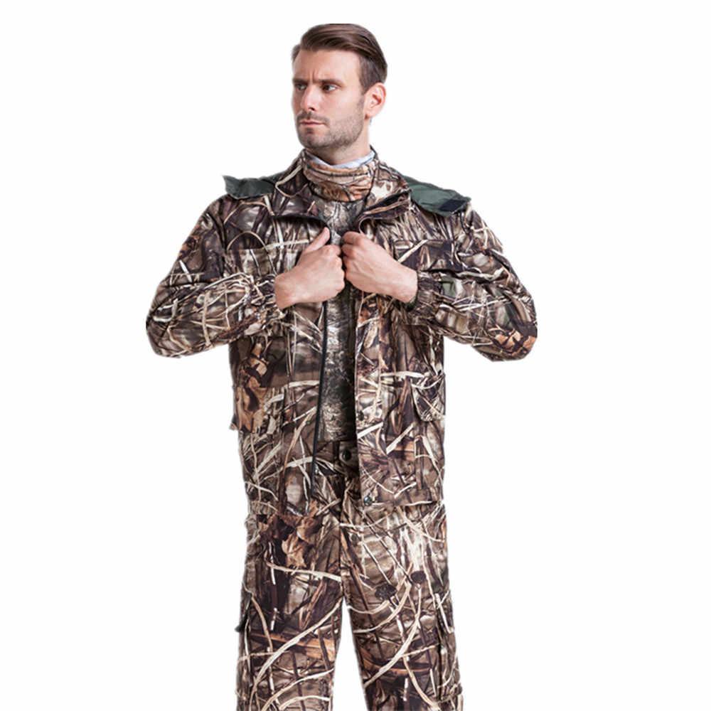 Al aire libre de los hombres Reed y bulrush Camo pesca traje transpirable caza tiro de camuflaje traje de lana Camo impermeable de caza chaqueta pantalón