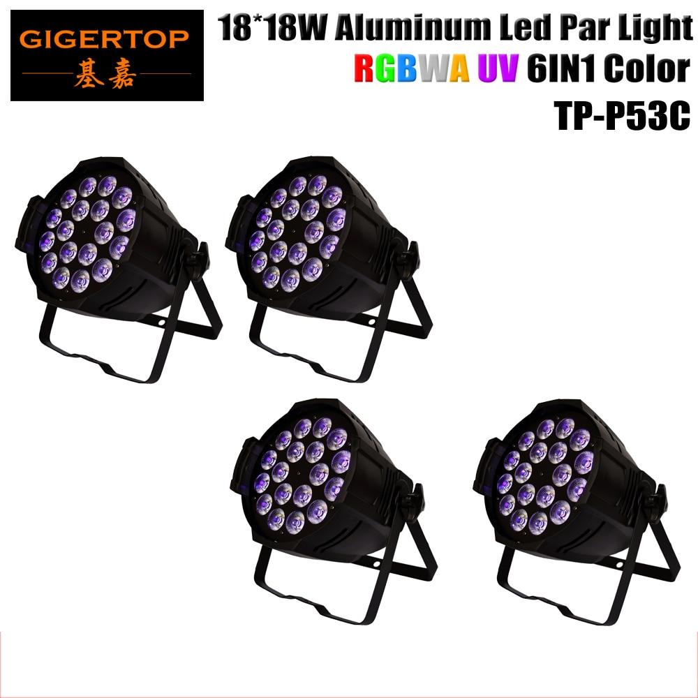 DMX-controllable 4pcs/lot 18*18W Aluminum LED Par Light LED Fixture RGBW Amber UV 6in1 Stage Lighting Theater Entertainment pro svet light psl led uv 18 dmx
