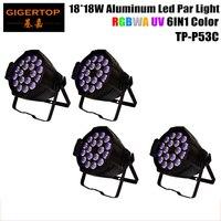 DMX controllable 4pcs/lot 18*18W Aluminum LED Par Light LED Fixture RGBW Amber UV 6in1 Stage Lighting Theater Entertainment