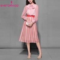 Мода 2 шт. Комплект горошек принт шифон блузка топ + полые кружева юбка костюм женщины работают офис наряд
