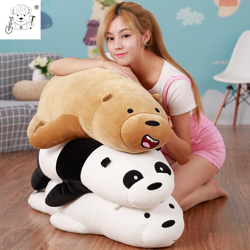 50cm Cartoon We Bare bears Lying Bear Stuffed Grizzly Gray White Bear Panda Plush Toys f ...