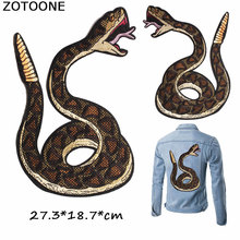 ZOTOONE Large Patches Snake Iron on Stickers for Clothes Embroidery Patch DIY Clothing Applique Jackets E