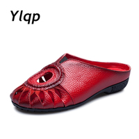 Chun Xia Leather Baotou Hollow Out Casual Shoes Comfortable And Cool Slippers With Flat Folk Manual