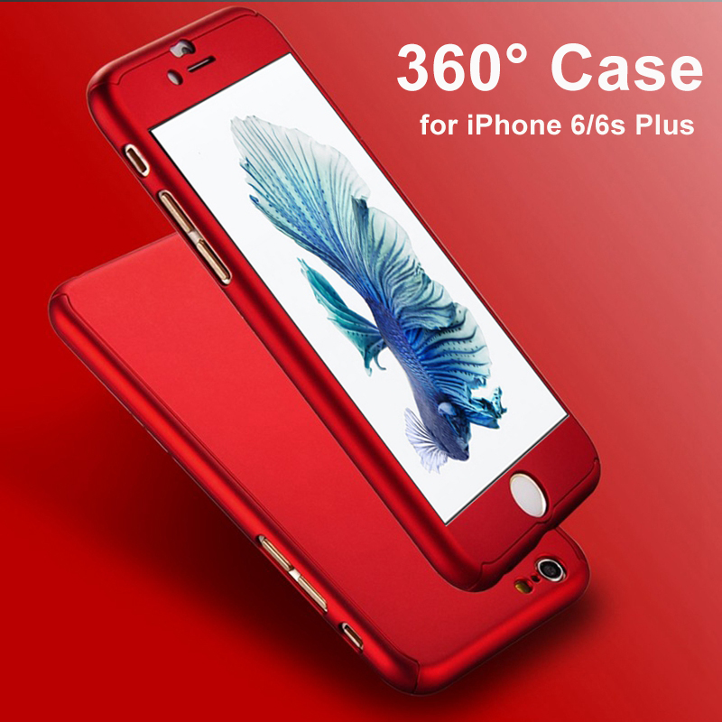 Ultra Thin 360 Case + 9H Tempered Glass Screen Protector για Capinhas iPhoneX 6 7 6S 8 Plus Phone Case Full Body Cover Funda Capa