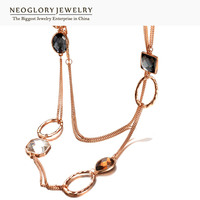 Neoglory Crystal Alloy Rose Gold Plated Brand Long Necklace Statement Christmas Gifts For Women 2015 Fashion